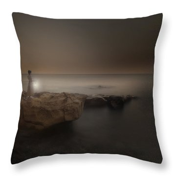 Girl With Lantern Throw Pillow by Joana Kruse
