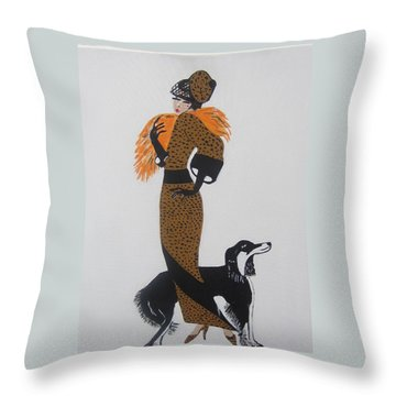 Throw Pillow featuring the painting Girl With Orange Fur by Nora Shepley