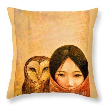 Girl With Owl Throw Pillow