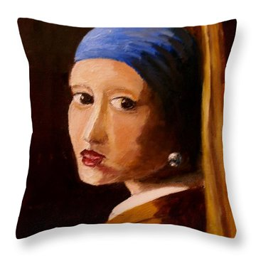 Girl With Pearl Throw Pillow by Constantinos Charalampopoulos