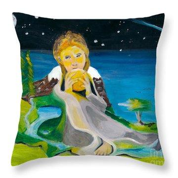 Girl With Sun Throw Pillow by Denise Deiloh
