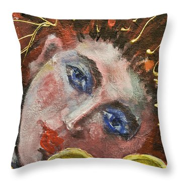 Girl With Tamburin-detail From Three Red Musicians Throw Pillow