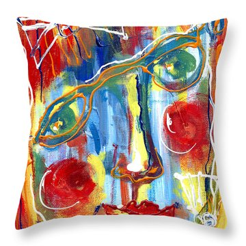 Girl With Two Bows Throw Pillow