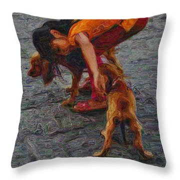 Girl With Two Dogs Throw Pillow by Mary Machare