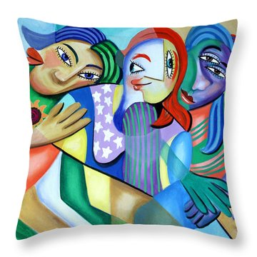 Girlfriends Throw Pillow by Anthony Falbo