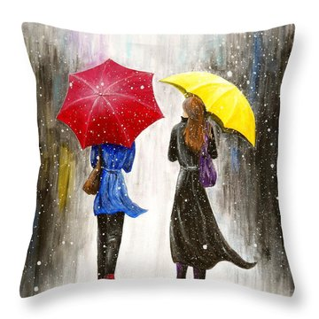 Girlfriends Throw Pillow by Kume Bryant