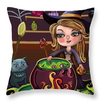 Girls And Her Cat Throw Pillow