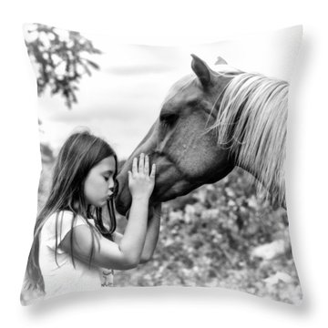 Girls And Their Horses Throw Pillow