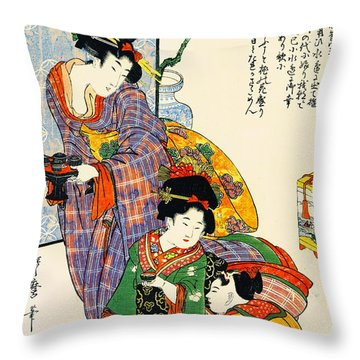 Girl's Festival 1801 Throw Pillow by Padre Art