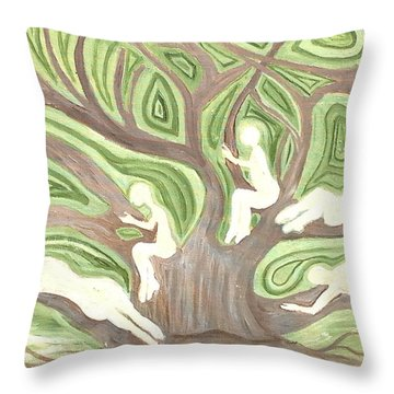 Girls In A Tree Throw Pillow