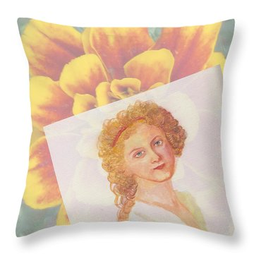 Girl's In The Garden Throw Pillow