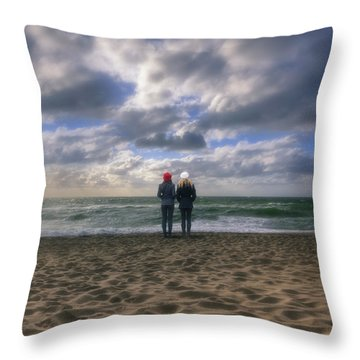 Girls On The Beach Throw Pillow by Joana Kruse