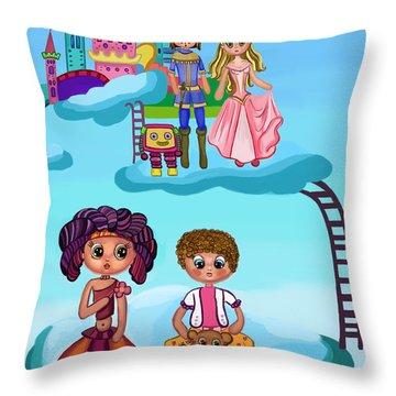 Girls Playing Throw Pillow