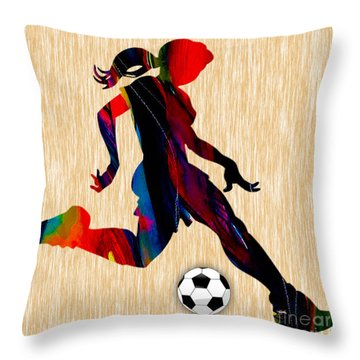 Girls Soccer Throw Pillow by Marvin Blaine