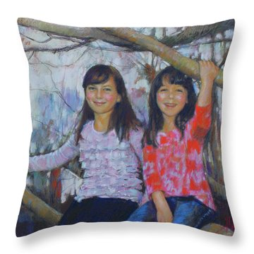 Throw Pillow featuring the drawing Girls Upon The Tree by Viola El