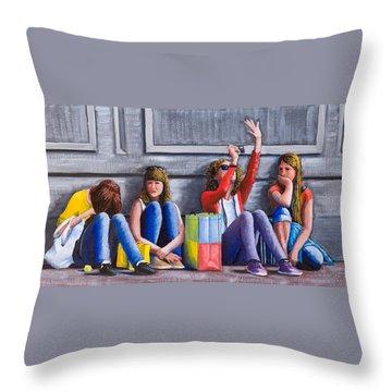 Girls Waiting For Ride Throw Pillow