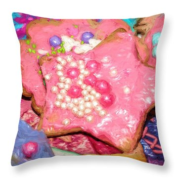 Girly Pink Frosted Sugar Cookies Throw Pillow