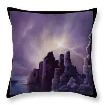 Girnigoe Castle Throw Pillow by James Christopher Hill