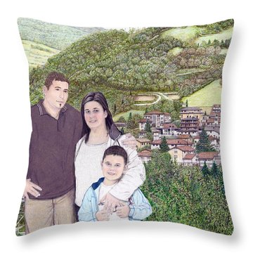 Throw Pillow featuring the painting Giusy Mirko And Simone In Valle Castellana by Albert Puskaric