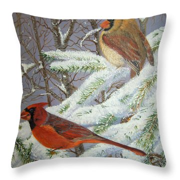 Throw Pillow featuring the painting Give Her Wings To Fly by Brenda Brown