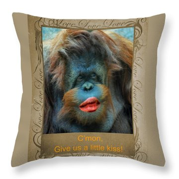 Give Us A Little Kiss Throw Pillow by Paula Ayers