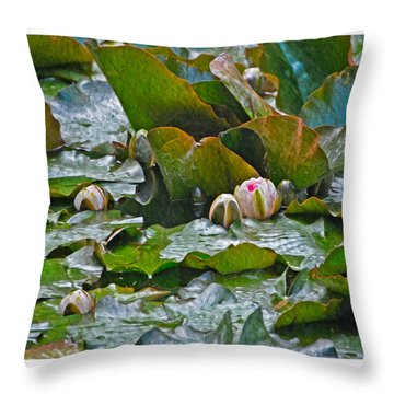 Giverny Early Lilies Throw Pillow