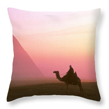 Giza Pyramids Egypt Throw Pillow by Panoramic Images