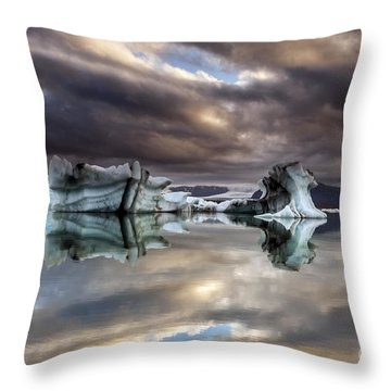 Glacier In Water Throw Pillow