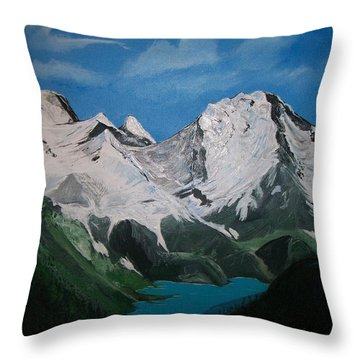 Throw Pillow featuring the painting Glacier Lake by Sharon Duguay