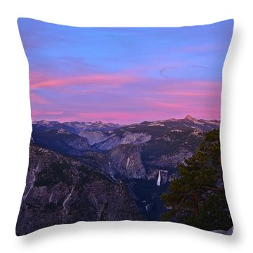 Glacier Point With Sunset And Moonrise Throw Pillow