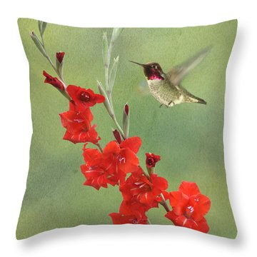 Glad Hummingbird Throw Pillow by Angie Vogel