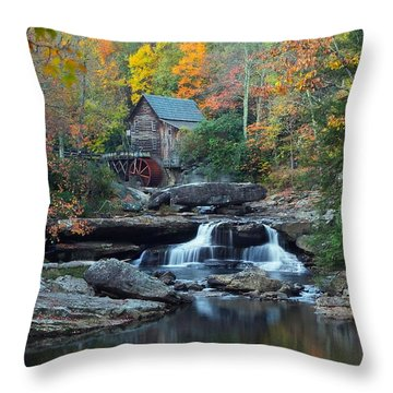Throw Pillow featuring the photograph Glade Creek Grist Mill by Daniel Behm