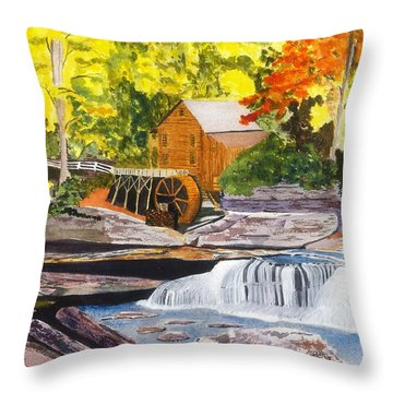 Glade Creek Grist Mill Throw Pillow