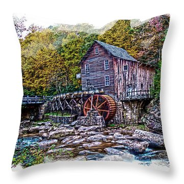 Glade Creek Grist Mill Throw Pillow by Randall Branham