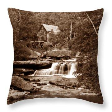 Glade Creek Mill In Sepia Throw Pillow by Tom Mc Nemar