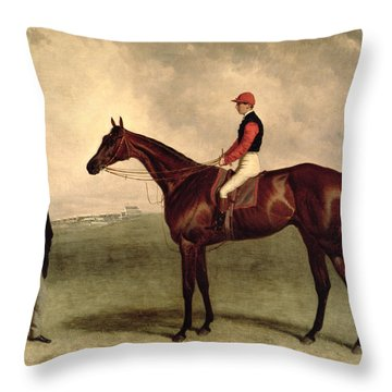 Gladiateur With Harry Grimshaw Up And His Owner Count Frederic De Lagrange Throw Pillow