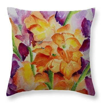 Gladioli Throw Pillow by Geeta Biswas