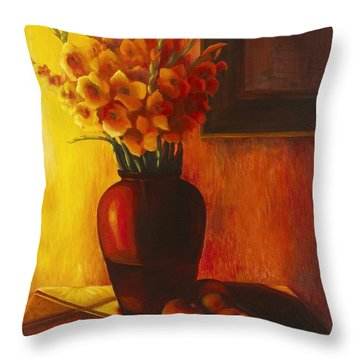 Gladioli Red Throw Pillow