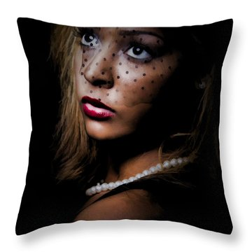 Throw Pillow featuring the painting Glamour by Linda Blair