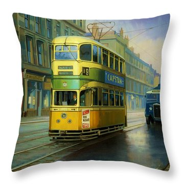 Glasgow Tram. Throw Pillow by Mike  Jeffries