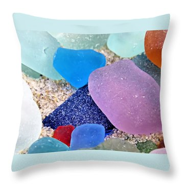 Throw Pillow featuring the photograph Glass And Sand by Janice Drew