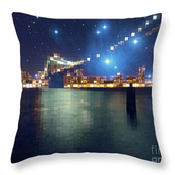 Glass Block Brooklyn Bridge Among The Stars Throw Pillow