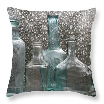 Glass Bottles 1 Throw Pillow