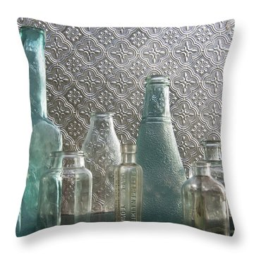 Glass Bottles 2 Throw Pillow