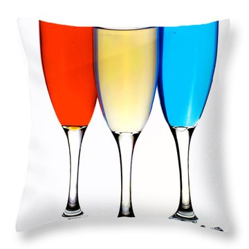 Glass Cups And Colorful Drinking Liquid Art Throw Pillow by Paul Ge