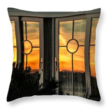 Glass Doors Aglow Throw Pillow