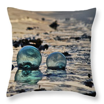 Glass Float At Sunset Throw Pillow by Cynthia Lagoudakis