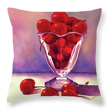 Glass Full Of Cherries Throw Pillow by Nan Wright