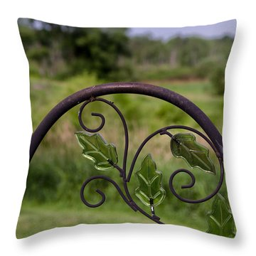 Glass Leaves Throw Pillow
