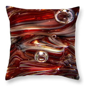 Glass Macro Abstract Crimson And Gray IIi Throw Pillow by David Patterson